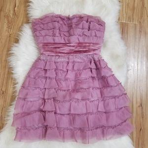 BCBG MAXARZIA Lavender Mini Ruffle Lace Dress